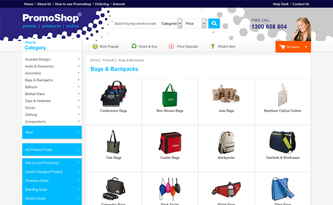 Bags Subcategory Listing
