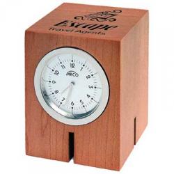 Desk Clock Set into Canadian Maple Wood