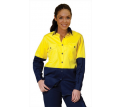 Ladies Hi Vis L/S Cotton Twill Safety Shirt