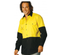Men's Hi Vis Two Tone  L/S Cotton Work Shirt