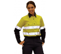Ladies L/S Hi Vis Cotton Twill Shirt with 3M Tape