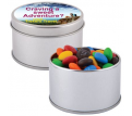 M&Ms in Silver Round Tin