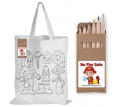 White Short Handle Cotton Bag with Colouring Pencils