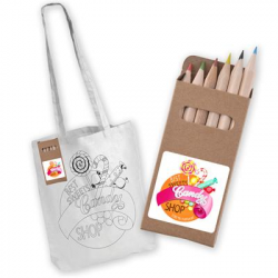 White Long Handle Cotton Bag with Colouring Pencils