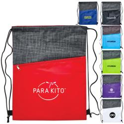 Crosshatch Drawstring Bag with Zipper Pocket