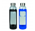 Sleeve Glass Drink Bottle with Stainless Steel Lid