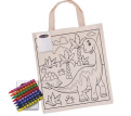 Colouring Calico Short Handle Bag with Crayons