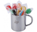Assorted Colour Lollipops in Stainless Steel Java Mug