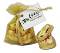 Organza Bag with Gold Lindt Bunny x2