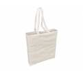 WHITE CALICO BAG WITH LONG HANDLES